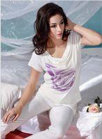 Wholesale 2013 Hot sale New Fashion Avant garde Summer Women s Bamboo charcoal fiber soft Comfortable and elegant Short sleeve T shirts