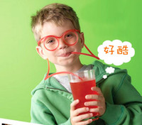 Wholesale 20Sets Strange New Interesting Drinking Straws Lover Madness Funny Glasses Pipette Children s Toys