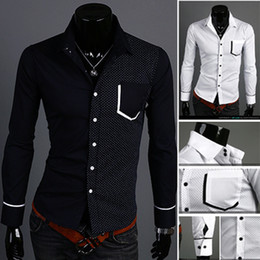Wholesale 2013 Summer Autumn Casual Body Shape Men Ideas stitching Shirts sizes colors available