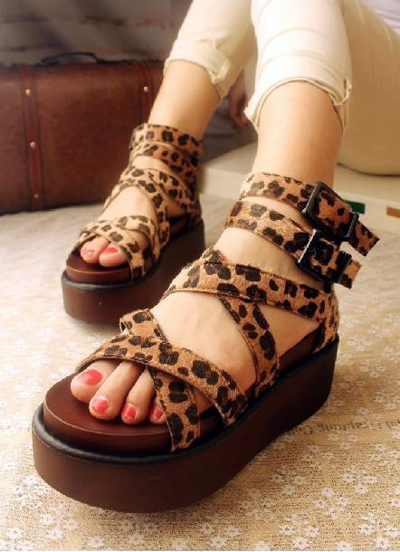 Open Toe Platform Shoes Fashion Shoes Women's Leopard Print ...