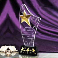 crystal trophy award - TOP Quality Optical Crystal Trophy Award Logo Print Star Trophies Plaques of Honor Souvenir Gift Sports Meeting Art Craft JB014