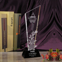 Wholesale Sovenir Gift Crystal Trophies Shining Crystal Plaque Glass Award with Black Base Office Decoration