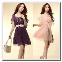 Wholesale High quality Fashion Women Lady Chiffon Dress Short Sleeve Crew Neck Casual Mini Dress Cocktail Summer Dropshipping