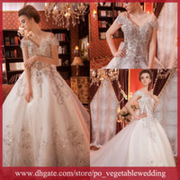 Wholesale 2013 Luxurious Sparking Beaded Sequin Bateau Exquisite Vintage Ball Gowns Wedding Dress SA IY38
