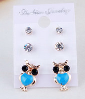Wholesale Fashion Epoxy Owl Post Earring Set Rhinestone Owl Stud Earring Set Colors Available