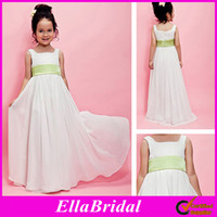 Wholesale Hot Cheap Empire Flower Girl Dresses Ivory Chiffon with Green Belt A Line Floor Length Square Bridal Store Formal Girl Gowns Dress Simple