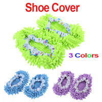 Wholesale 6 pairs Chenille Mopping Shoecovers Floor Dust Cleaner Cleaning Lazy Slippers Colors