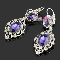 Wholesale noble purple crystal wedding jewelry earrings