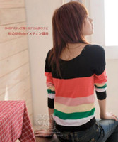 Wholesale Factory price Hot Sell women s fashion Striped Cotton top clothes women tee sweaters
