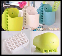 Wholesale Home Storage Wall Sucking Kangaroo Pocket Bathroom Toothbrush Stuff Holder Sucker Organizer