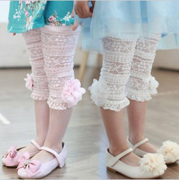 Wholesale 2013 Girls Kids Korean Summer Pants Beautiful Lace Stereo Flower Cotton Leggings Pink White Adorable Pants Size Age Y