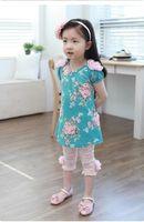 Wholesale 2013 Girls Kids Korean Summer Pants Beautiful Lace Stereo Flower Cotton Leggings Pink White Adorable Pants Size Age Y