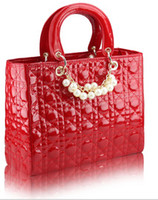 Wholesale 2013 new big style pearl Princess Diana handbag patent leather handbags