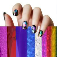 Wholesale 10 Rolls New Fashion Mix colors cm x cm Nail Art Transfer Foil Set Nail Tip Decoration d nail stickers