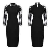 black pencil dresses - New Celebrity Dress Spring Summer Casual Hollow Out Black OL Pencil Dresses Women Bodycon Dress