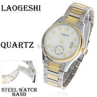 Wholesale Laogeshi Quartz Analog Watch with Calendar Function Waterproof Round Shaped Steel Band for Male