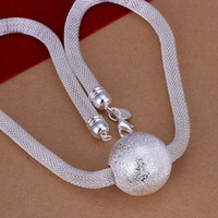 Pendant Necklaces South American Women's Free shipping trendy fashion jewelry high quality 925 silver beautiful necklace mesh chain Frosted ball classic holiday gift N182 hot sales