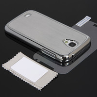 Wholesale i9500 Galaxy s4 Case Luxury Brushed Aluminum Chrome Hard Case for Samsung IV i9500 Silver Microfiber Cloth Application Card