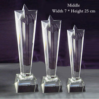 Wholesale Height cm Art Glass Trophy Handmade Star Award Premium Corporate Gifts JB008B