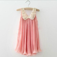 Wholesale 13 new Korean version of children s clothing child skirt sleeveless dress chiffon pleated skirt children dress in summer