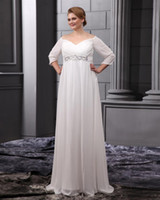 Wholesale Most popular a line sweetheart white chiffon pleated beaed sweep train sleeve wedding dresses bridal gowns plus size empire waist