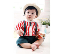 baby boy vintage clothing - Summer Children Clothes new style Vintage London gentleman red stripe shirt dark blue little shorts Baby sets boys Short sleeve suit