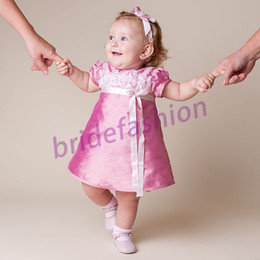 Wholesale So Beautiful New Hot Item Little Baby Jewel A line Handmade Flower Ruffle Ribbon Custom Made Satin Christening Gown Real Image