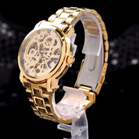 Wholesale New Dress fashion Clock Style Gold Tone Skeleton Mechanical Men Women Watch