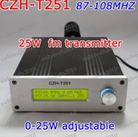 Wholesale W CZH T251 Professional FM Stereo Broadcast Radio FM Transmitter Kits power supply Antenna Audio Cable GX