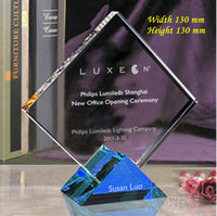 trophy award - 130 mm Optical Crystal Trophy Plaque Customized LOGO Print Square Award Trophy Anniversary Gifts School Sports Meeting Prize