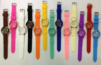 Wholesale New rose Shadow Style Geneva Watch Rubber Candy Jelly Fashion Men Wamen Silicone Quartz Watches color for choice youmyelectec1688