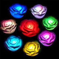 Wholesale 7 color flash Rose Night Lamp candle LED flower Light gradient romantic birthday wedding Xmas gift