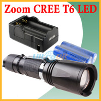 Wholesale Zoomable CREE XML T6 LED Lm Adjustable Focus Flashlight Torch Modes Hiking Lamp with Clip x mAh battery x Charger