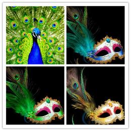 Wholesale HOT Venetian Masquerade Pheasant Peacock Feather Masks Half Face Masks Ball Party
