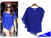 Wholesale 2013 Summer Europe Style Design Chiffon Woman Blouses Bat Sleeves Round Neck Chiffon Tops Sexy Elegant sizeS XL Blue Green Khaki colors