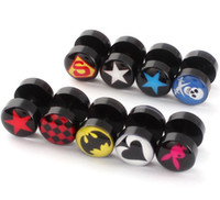 Wholesale Stainless steel Pentagram superman skull hearts stud earrings pair mix order