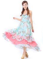 Wholesale 2013 New Fashion avant garde Women s Bohemia style Engine GR flowers Falbala Condole belt Chiffon Long dress