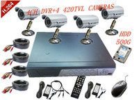 Wholesale 4CH DVR All in one CCTV Kit x M Outdoor Waterproof Camera LED GB HDD x20M Cable H048