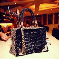 Wholesale Fashion Leopard Print Paillette Bags Shoulder Messenger Pendant Winter Bag Women