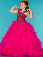 Wholesale Asymmetrical Neckline PAGEANT DRESS junior sized PAGEANT GOWN ruffled layered Organza skirt Girl s Formal Wear Floor Length Y844