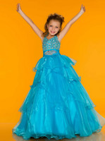 Wholesale Sugar Halter Top Little Girl PAGEANT DRESS junior sized PAGEANT GOWN ruffled layered Organza skirt Girl s Formal Wear Floor Length Y845