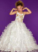 Wholesale Sweetheart Strap Sugar Beaded PAGEANT DRESS junior sized PAGEANT GOWN ruffled layered Organza skirt Girl s Formal Wear Floor Length Y845