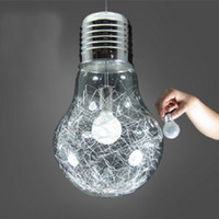 Wholesale Stylish Big Bulb Modle Pendant Lamp New Modern Dining Room Aluminum Wire inside Glass ball Lampshade Pendant Light Fixture