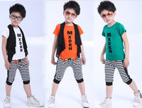 Boy 3-7 year Summer Summer 2013 Korean Children Sets kids clothes pure cotton T shirt + waistcoat + Middle pants boys casual sets 2 colour 5 size 5 pcs lot