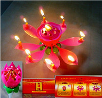 Wholesale The Lotus Flower Music Candles for Wedding Birthday festival supplies