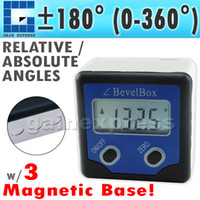 Wholesale AG BB Waterproof Digital Bevel Box Gauge Angle Protractor Inclinometer with Strong Disk Magnet degree Accuracy