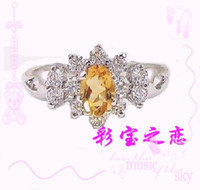 Men's Sterling Silver Natural crystal / semi-precious stones Luxury Citrine * Lucky * S925 silver platinum plating natural Citrine Ring ** jewelry new