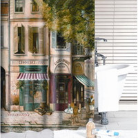 Wholesale Bathroom Shower Curtain Paris Coffee House Bathing Curtain Waterproof X180CM FREE BY FEDEX