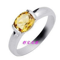 Men's Sterling Silver Natural crystal / semi-precious stones National package delivery natural citrine sterling silver ring women rings animal year Lucky Crystal