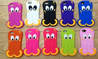 Silicone For Apple iPhone For Christmas 3D Octopus Silicone soft gel case for Iphone 5 5g 5th skin cartoon cover cute fish cases